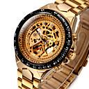 ieftine Ceasuri Bărbați-WINNER Bărbați Ceas Schelet Ceas de Mână ceas mecanic Mecanism automat Oțel inoxidabil Auriu 30 m Rezistent la Apă Gravură scobită Luminos Analog Lux Vintage extravagant - Alb Negru Auriu / Argintiu