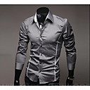 cheap Men's Shirts-Men's Work Cotton Slim Shirt - Solid Colored Basic Spread Collar / Long Sleeve
