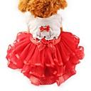 Χαμηλού Κόστους Ρούχα και αξεσουάρ για σκύλους-Γάτα Σκύλος Smoching Φορέματα Ρούχα για σκύλους Φιόγκος Κίτρινο Κόκκινο Πράσινο Σιφόν Βαμβάκι Στολές Για κατοικίδια Γυναικεία Πάρτι