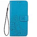 preiswerte Hüllen / Cover für Huawei-Hülle Für Huawei Kreditkartenfächer Geldbeutel mit Halterung Flipbare Hülle Geprägt Ganzkörper-Gehäuse Volltonfarbe Blume Hart PU-Leder
