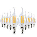 رخيصةأون أضواء شموغ LED-YWXLIGHT® 10pcs 4W 300-400lm E12 أضواء شموغ LED CA35 4 الخرز LED COB تخفيت ديكور أبيض دافئ 110-130V