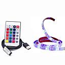 ieftine Benzi Lumină LED-1m Fâșii RGB 30 LED-uri 5050 SMD 1 Controler la distanță de 24 de taste RGB Rezistent la apă / Ce poate fi Tăiat / USB 5 V / Alimentat USB 1set / IP65