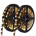 billige LED-kolbepærer-HKV 10 m Fleksible LED-lysstriber 300 lysdioder 5050 SMD Varm hvid / Hvid / Blå Chippable / Selvklæbende 12 V