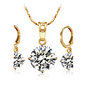 cheap Necklaces-Women's Cubic Zirconia Jewelry Set - Princess Fashion, Bling Bling Include Necklace Gold / Silver For Wedding Engagement / Earrings