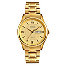 preiswerte Uhren Herren-SKMEI Herrn Armbanduhr Japanisch Quartz 30 m Wasserdicht Kalender Cool Edelstahl Band Analog Luxus Modisch Elegant Gold - Gold