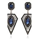 ieftine Cercei-Pentru femei Safir Sapphire sintetic Cercei Picătură Emerald Cut Marchiză femei Personalizat Modă Zirconiu cercei Bijuterii Albastru Închis Pentru Petrecere Scenă