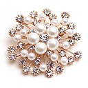 cheap Brooches-Women's Synthetic Diamond Brooches - Imitation Pearl Flower Classic, Fashion Brooch Gold For Daily / Date