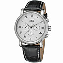 cheap Men's Watches-Jaragar Men's Wrist Watch Automatic self-winding Cool Leather Band Analog Casual Fashion White Black / Stainless Steel