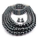ieftine Seturi de Bijuterii-Pentru femei Perle Seturi de bijuterii Declarație femei Imitație de Perle cercei Bijuterii Negru Deschis Pentru Casual Serată / Cercei / Coliere
