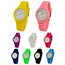 baratos Relógios Femininos-Relógio de Pulso Quartzo Relógio Casual Silicone Banda Analógico Amuleto Casual Preta / Branco / Azul - Verde Rosa claro Azul Claro