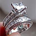 Χαμηλού Κόστους Δαχτυλίδια-Γυναικεία Cubic Zirconia / Συνθετικό Diamond Δαχτυλίδι αρραβώνων - Ανοξείδωτο Ατσάλι Μοντέρνα, Κομψό 6 / 7 / 8 Ασημί Για Αρραβώνας / Δώρο / Γαμήλιο Πάρτι / 2pcs