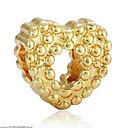 hesapli Boncuklar-DIY Mücevherat 1 adet Koraliki alaşım Altın Gümüş Kalp boncuk 0.2 cm DIY Kolyeler Bilezikler