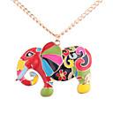 baratos Relógios Femininos-Mulheres Colares com Pendentes - Elefante Europeu, Fashion, Colorido Dourado Colar Jóias Para Diário