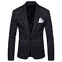 cheap Men's Blazers & Suits-Men's Daily / Holiday Active Spring / Fall Plus Size Regular Blazer, Striped Shirt Collar Long Sleeve Polyester Black / Red / Gray XXL / XXXL / 4XL / Slim