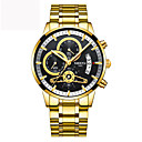 cheap Men's Watches-Men's Japanese 30 m Chronograph Cool Word / Phrase Large Dial Stainless Steel Band Analog Luxury Casual Gold - Gold / Black Gold / White Two Years Battery Life