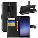 baratos Capinhas para Galaxy Série S-Capinha Para Samsung Galaxy S9 Plus / S9 Carteira / Porta-Cartão / Com Suporte Capa Proteção Completa Sólido Rígida PU Leather para S9 / S9 Plus / S8 Plus