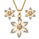 ieftine Colier la Modă-Pentru femei Diamant sintetic Seturi de bijuterii Floare femei Dulce Diamante Artificiale cercei Bijuterii Auriu Pentru Zilnic Festival / Cercei