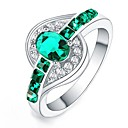 cheap Necklaces-Women's Statement Ring - Crystal, Zircon, Silver Plated Statement, Fashion 6 / 7 / 8 / 9 / 10 Green / Blue / Pink For Daily