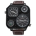 cheap Men's Watches-SHI WEI BAO Men's Fashion Watch Quartz Compass Dual Time Zones Punk Genuine Leather Band Analog Casual Black / Brown - White Black Coffee One Year Battery Life / Large Dial / SSUO 377