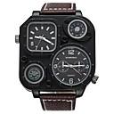 Недорогие Мужские часы-SHI WEI BAO Модные часы излучатели Компас, С двумя часовыми поясами, Панк Белый / Черный / Кофейный / Один год / Натуральная кожа / Крупный циферблат / SSUO 377