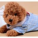 hesapli Köpek Giyim ve Aksesuarları-Köpekler Kediler Tişörtler Köpek Giyimi Zıt Renkli Kareli Fiyonk Düğüm Gri Mavi Kumaş Kostüm Evcil hayvanlar için Erkek Günlük / Sade
