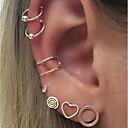 ieftine Decor de Perete-Cercei Stud Cercei cu Clip Cercei cu spirală Manşetă Inimă Hollow Heart femei Modă cercei Bijuterii Argintiu Pentru Zilnic Dată 7pcs