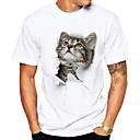 رخيصةأون خواتم-رجالي أناقة الشارع طباعة قياس كبير تيشرت, 3D / حيوان رقبة دائرية قطة / كم قصير / الصيف