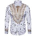 levne Módní náhrdelníky-Pánské - Etno Luxus / Vintage / Cikánský Košile, Tisk Bavlna Klasický límeček Štíhlý Bílá XL / Dlouhý rukáv