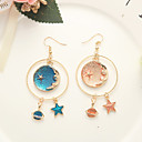 cheap Earrings-Mismatched Drop Earrings - Moon, Star, Galaxy Sweet, Fashion Blue For Daily