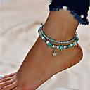 ieftine Bijuterii de Corp-Pentru femei Turcoaz Brățară Gleznă picioare bijuterii Broasca testoasa Ieftin Dublu Stratificat Brățară Gleznă Bijuterii Argintiu Pentru Ieșire Bikini
