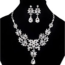 cheap Brooches-Women's Cubic Zirconia Bib Jewelry Set - Cubic Zirconia, Imitation Diamond Drop Statement, Party, Double-layer Include Pendant Necklace Earrings Bib necklace White For Party Special Occasion