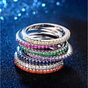 ieftine Cameră de Vedere Spate-Pentru femei Stl Inel Eternity Ring Articole de ceramică Placat cu platină Diamante Artificiale Αστέρι femei La modă Corean Elegant Inele la Modă Bijuterii Albastru / Roz / Verde Deschis Pentru