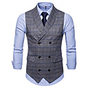 رخيصةأون قمصان رجالي-رجالي مناسب للبس اليومي أساسي الخريف / الشتاء عادية Vest, منقوشة / متقلب V رقبة بدون كم سباندكس رمادي