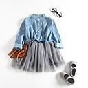 رخيصةأون Smartwatch كابلات وشواحن-فستان طول الركبة كم طويل مطوي / بقع لون سادة أساسي للفتيات أطفال / قطن