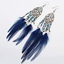 ieftine Brățări-Pentru femei Cercei Picătură Franjuri Lung Pană femei Stilat Clasic african Pană cercei Bijuterii Maro / Verde / Bleumarin Pentru Zilnic 1 Pair