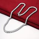 ieftine Carabiniere-Bărbați Lănțișoare Șuviță unică Mariner Chain Simplu De Bază Modă Articole de ceramică Argilă Argintiu 50 cm Coliere Bijuterii 1 buc Pentru Zilnic Muncă