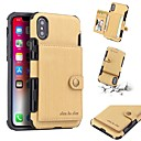 رخيصةأون أغطية أيفون-غطاء من أجل Apple iPhone XS / iPhone XR / iPhone XS Max محفظة / حامل البطاقات / ضد الصدمات غطاء خلفي لون سادة قاسي جلد PU