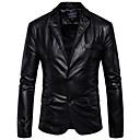 رخيصةأون جواكيت رجالي-رجالي متخصص الشتاء عادية جواكيت جلد, لون سادة قبعة القميص كم طويل PU بني / أسود