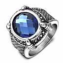 cheap Car Headlights-Men's Sapphire Synthetic Aquamarine Solitaire Oval Cut Band Ring Titanium Steel Steel Stainless Creative Stylish Unique Design Vintage Ring Jewelry Blue For Birthday Gift 7 / 8 / 9 / 10 / 11