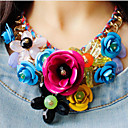 cheap Necklaces-Women's Plaited Bib Pendant Necklace / Statement Necklace - Flower Luxury Green, Pink, Rainbow Necklace Jewelry 1pc For Party, Special Occasion, Birthday