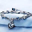 billige Mode Halskæde-Dame Kvadratisk Zirconium Rolo Armbånd Armbånd med vedhæng Østrigsk krystal Hjerte Damer Tropisk Sød Armbånd Smykker Sølv Til Ferie Valentine