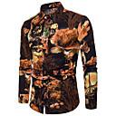 رخيصةأون قمصان رجالي-رجالي نادي أناقة الشارع / النمط الصيني طباعة قياس كبير - كتان قميص, ألوان متناوبة نحيل / كم طويل
