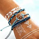 ieftine Brățări-3pcs Pentru femei Bratari Vintage Yoga brățară Handmade Link Bracelet Stil Vintage Împletit Crossover Val femei Boem Modă Militar Cordon Bijuterii brățară Albastru Pentru Zilnic Serată