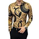 رخيصةأون قمصان رجالي-رجالي مناسب للحفلات / عمل / نادي ترف / عتيق قميص, هندسي ياقة كلاسيكية نحيل / كم طويل / الخريف