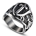 cheap Rings-Men's Vintage Style 3D Band Ring Statement Ring - Titanium Steel Cross Vintage, Punk Jewelry Black For Halloween Daily Street 9 / 10