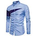 tanie Męskie koszule-Koszula Męskie Praca Szczupła - Kolorowy blok / Długi rękaw