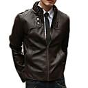 זול שרשרת אופנתית-בגדי ריקוד גברים חום שחור חום בהיר L XL XXL ז'קטים מעור בסיסי אחיד עומד / שרוול ארוך / חורף
