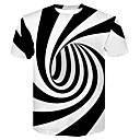 cheap Men's Tees & Tank Tops-Men's Club Basic / Street chic T-shirt - Color Block Black & White, Print Round Neck / Short Sleeve