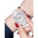 levne Pánské-Dámské Náramkové hodinky Diamond Watch zlaté hodinky Křemenný Keramika Bílá 30 m Voděodolné Nový design Analogové dámy Módní - Stříbrná Růžové zlato
