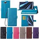 رخيصةأون Sony أغطية / كفرات-غطاء من أجل Sony Sony XA2 Plus / Xperia XZ2 / Xperia XZ2 Compact حامل البطاقات / مع حامل / قلب غطاء كامل للجسم لون سادة / فراشة قاسي منسوجات